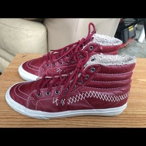 Vans Red LeatherHigh Top Sneakers Size M6.5,W8